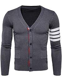 ZhuiKun Chaqueta Punto para Hombre Cárdigan Manga Larga Cuello de Pico Suéter Jersey