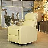 Astan Hogar Confort PU Premium sillón Relax con reclinación Manual, tapizado Anti-cuarteo Crema, Compacto