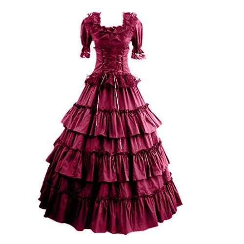 Forme de col pour femme Robe gothique Rouge bordeaux/blanc