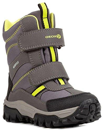 Geox J843AB Himalaya WPF Jungen Winterstiefel, Schneestiefel, Wasserdicht, Warm gefüttert, Atmungsaktiv, Wechselfußbett Grau (Grey/Yellow), EU 38