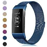 Gogoings Für Fitbit Charge 3 Armband - Ersatzarmband Metall für Damen Herren Milanese Metallarmband mit Einzigartiger Magnetverriegelung für Fitbit Charge3 Fitness Tracker Zubehör (Blau, L)
