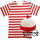 Herren Damen Rot & Weiß Gestreift TShirt Hat & Gläser Fancy Kleid (Männer: Medium)