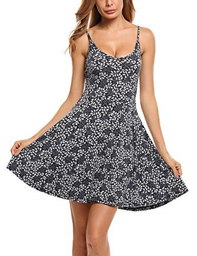 Unibelle Damen Nachthemd Nachtkleid O-Ausschnitt Ärmellos Star Print Sleepwear Nachtwäsche Kleid Casual -
