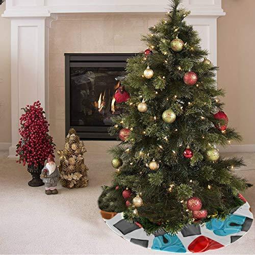 ZHANGhome Weihnachtsbaum Rock süß farbige kreative Boxhandschuhe drucken Flagge Baum Rock Polyester personalisierte Weihnachtsbaum Rock Teppich für Party Urlaub Dekorationen Xmas Ornamente