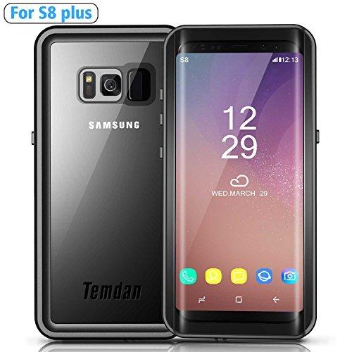 Temdan Samsung Galaxy S8 plus Wasserdichte Hülle mit Ständer und Schwimmgurt bis zu 33ft / 10m wasserdicht Hülle für S8 Plus (6,2 Zoll) (schwarz)
