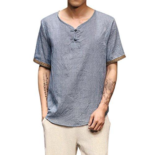 OSYARD Herren Sommer Traditionell Tops im Retro-Look Leinen Hemden Casual Solide Kurzarm V-Ausschnitt Bluse Lose Shirt