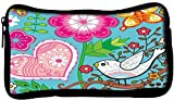 Snoogg seamless texture with flowersPoly Canvas Student Pen Pencil Case Coin Purse Utility Pouch Cosmetic Makeup Bag