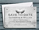 40 Personalised Save The Date Cards - Rustic Hearts Design. Wedding Save the Dates with White Envelopes