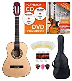 Classic Cantabile Acoustic Series AS-851-L Klassikgitarre 1/2 für Linkshänder Starter-SET (Konzertgitarre, Bag/Tasche, Schule, CD, DVD, Plektren, Saiten, Stimmpfeife) natur
