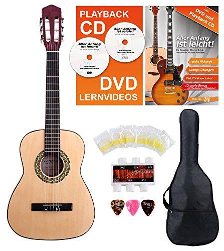 Classic Cantabile Acoustic Series AS-851-L Klassikgitarre 1/2 für Linkshänder Starter-SET (Konzertgitarre, Bag/Tasche, Schule, CD, DVD, Plektren, Saiten, Stimmpfeife) natur