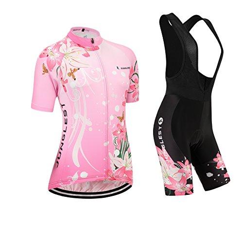 jngles (3D Sitzpolster)(Typ:Anzüge(Schwarz Trägerhose) Größe:M) Leichtes Damen Mode atmungsaktive Windjacke Leistung Kurze Frühling Ärmel Fahrradtrikot Gewebe Kurzarm elastisches Anzüge