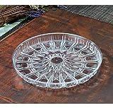 Elegante bandeja redonda de plástico con aspecto de cristal | Bandeja decorativa | Plato de plástico para servir - 30,5 cm