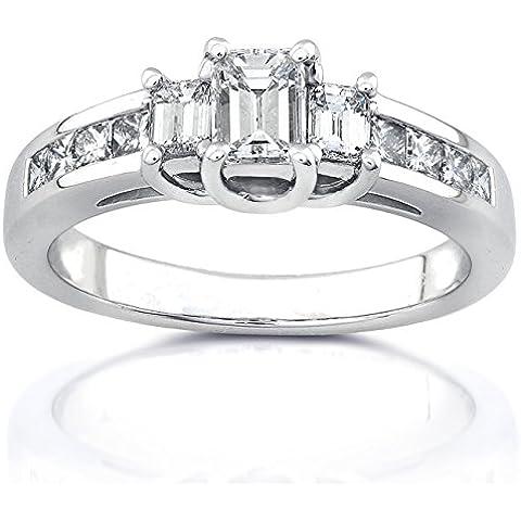 Tre pietre con smeraldo e diamante 1 K (ctw)-Anello di fidanzamento in oro bianco 14 k