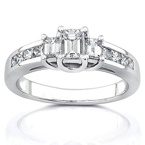 Trois Pierre Emeraude–Diamant 1carat–(ctw) en or blanc 14K