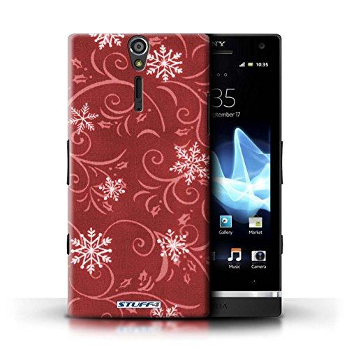 Kobalt® Imprimé Etui / Coque pour Sony Xperia S/LT26i / Rouge conception / Série Motif flocon de neige Rouge