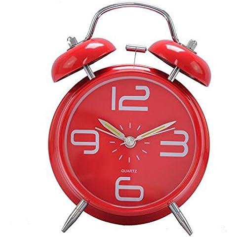 LXh.Cn Piccolo classico di allarme allarme semplice tre o Four-Inch pigri Mute Luce notturna anelli doppi,4pollici grande campo rosso