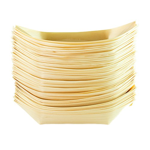 In legno di pino barche eco-friendly compostabili usa e getta per piatti da portata, bbq buffet parti baldacchino 200mm x 115mm, confezione da 50
