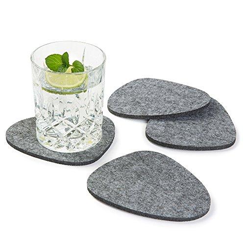 FILZUNTERSETZER asymmetrisch, 8er Set, Farbe wählbar, grau, Glasuntersetzer beidseitig nutzbar. Untersetzer aus Filz, schützen Tisch & Bar. Getränke-Untersetzer für Glas, Gläser, Tassen