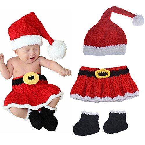 Anqeeso Baby Kleidung für Fotografie, Neugeborene Baby handgefertigt gestrickt Weihnachten Kleid Fotografie Anzug Foto Prop Outfit Kleidung Gap Hat Set -