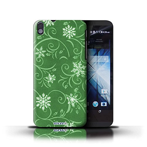 Kobalt® Imprimé Etui / Coque pour HTC Desire 816 / Vert conception / Série Motif flocon de neige Vert