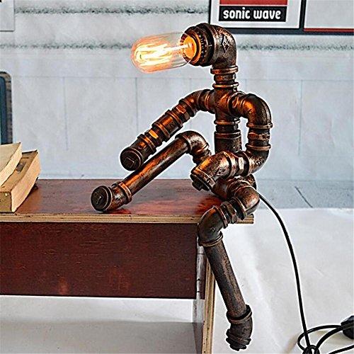 Lampes de bureau Robot unique Industriel vintage Fer Forgé Tuyaux d'eau Lampe de table Chambre à coucher salon Dimmable fait à la main Lampe de chevet Lampe de table Lampe de bureau