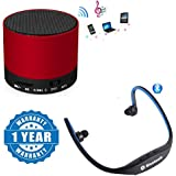 Drumstone Portable S10 Bluetooth Speaker Wireless Hands Free With TF, USB, And FM Support With BS19C Sports Bluetooth Headset Micro Sd Card Slot And FM Radio Functionality Compatible With Xiaomi, Lenovo, Apple, Samsung, Sony, Oppo, Gionee, Vivo Smartphone