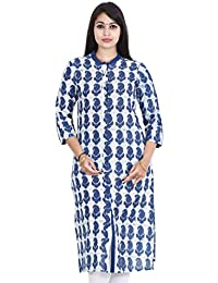 Loom N Yarn Indigo Dabu Paisely Print Straight Kurta With Pocket