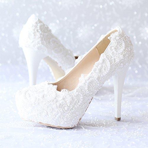 Sí Y Zapatos De Boda Femeninos / Princesa Y Novia / Calcomanías Hechas A Mano / Tacón De Aguja / Fiesta Y Vestido De Noche / Sandalias De Tacón Alto / Blanco 12cm Zapatos De Baile