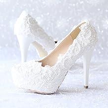 XIE Zapatos de la boda de las mujeres / Princesa y novia / Decalques hechos a mano / Tacón de estilete / Partido y vestido de noche / Sandalias de tacón alto / Zapatos de danza blanca , 10CM , CN38
