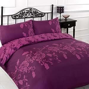 Kensington-Prune/violet-Parure de lit, housse de couette pour lit Double Viceroybedding