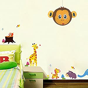 Monkey Lampshade Decorative Animal Lampshades for Children bedroom playrooms baby nursery lighting Fun and vibrant colours makes Pendant lights and Ceiling shades something special and a great gift from Aniworld