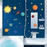 WandSticker4U- Wandtattoo Sonnensystem II | Sonne Sterne Rakete Raumschiff Weltraum Universum Galaxy Planeten Weltall | Wandsticker Aufkleber-Wand-Deko für Kinderzimmer Junge