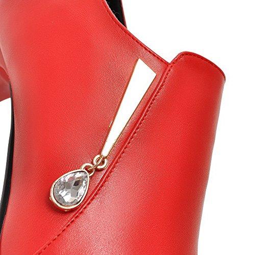 Alto Com Salto Apontado Diamante Botas Dedo Água Senhoras Voguezone009 Vermelho Tornozelo q7I0xzYX