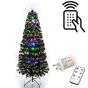 SHATCHI 6052-LED-REMOTE-TREE-6FT 6FT Árbol de Navidad con luces LED de fibra óptica con mando a distancia 8 efectos diferentes decoraciones de Navidad 180 cm decoración del hogar, color verde