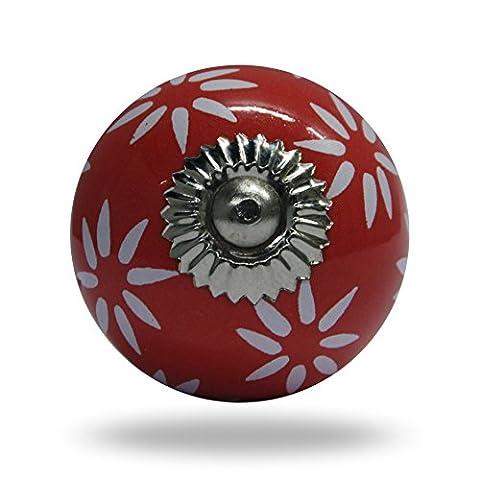 en céramique Daisy Blanc sur rouge fleur Bouton de meubles de cuisine Porte Placard Dressser Armoire et tiroir par Trinca-ferro