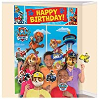 ‏‪Happy Birthday Paw Patrol Banner, Scene Setter Wall Decorations With 12 Photo Props‬‏