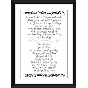 John Legend All of Me Lyrics Print, Ungerahmter Druck