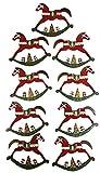 khevga 9X Christbaumschmuck Schaukelpferd - Weihnachtsschmuck Set aus Holz (9er Set, rot)