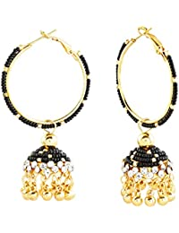 [Sponsored]Regalia Golden & Black Beaded Copper Jhumki Earrings