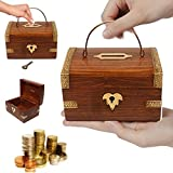 Wooden Money box with key lock, piggy bank, coin box,Thanks Giving or Christmas Gift