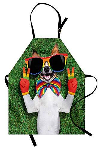 Stolz-Schürze, lustiger Gesichts-Homosexuell-Hund, der auf grünem Gras mit Friedenszeichen und riesiger Sonnenbrille-Stimmung, Unisexküchen-Schürze mit verstellbarem Hals für das Kochen der Backen-Gar