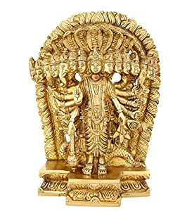 ShalinIndia Religious Gifts 15 Headed Lord Vishnu in His Cosmic Magnification Standing Brass Statue Size : 6 Inch, Weight : 3.7 KG