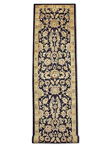 Pak Persian Rugs Handgeknüpfter Mahal Teppich, Schwarz, Wolle, 80 X 410 cm (Teppich Schwarz Mahal)