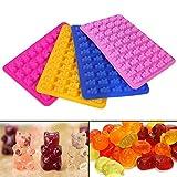 Kingnew bunte Gummibärchen Formen, Silikonformen & Eiswürfelbehälter für DIY Süßigkeiten, Gelee, Cookie, Schokolade (Rosy Red)