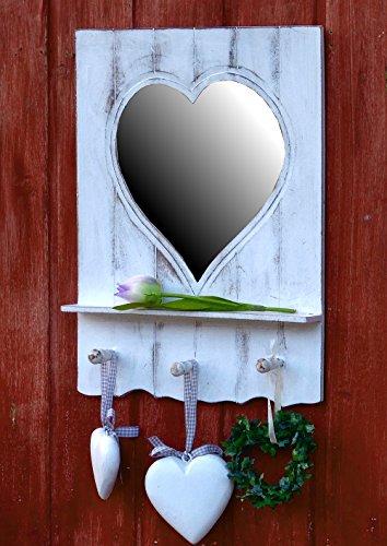 Wunderschöner Herzspiegel Badspiegel - Spiegel in Herzform - mit 3 Haken und kleiner Ablage Weiß Wandgarderobe Garderobe - Landhaus Vintage Shabby Chic - Antiklook