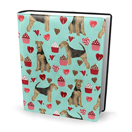Dress rei Book Cover Airedale Terrier Valentines Love Dog Valentines Aqua Waterproof PU Leather School Book Protector Washable Reusable Jacket 9x11 in - Aqua Leder Boot