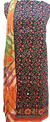 Chikirpolo Phulkari Suit Unstitched for women Royal Blue Cotton