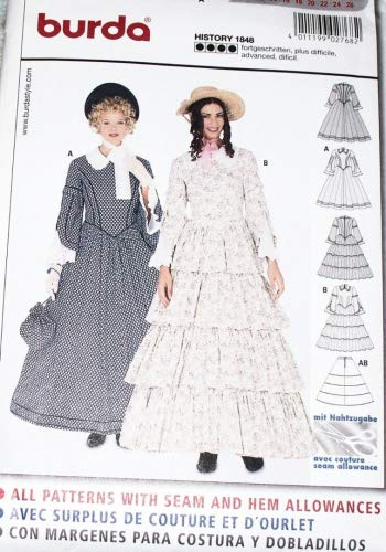 Burda 2768 Schnittmuster Kostüm Fasching Karneval Biedermeier-Kleid (Damen, Gr. 36-52)