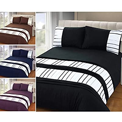 Just Contempo Stripe Duvet Cover Set, Double, Purple - cheap UK light shop.