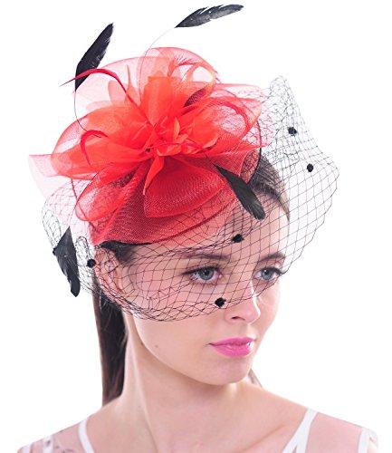 Kostüm Rote Haare Für Frau - FAYBOX BRIDAL Elegante Blumen Polka Punkt Mesh- Netz Schleier Feder Fascinator Haar Klipp Hut Hochzeit Cocktail